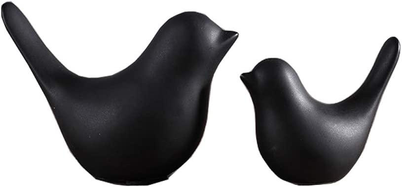 FUMING 2Pcs Modern minimalist Scandinavian style ceramic bird ornaments Home decorations crafts Figurines ceramic birds Wedding gifts (Black)
