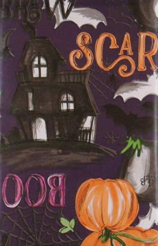 Scary Witches Brew Halloween Vinyl Flannel Back Tablecloth (52