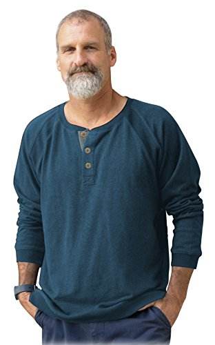 New! Pine Flat Raglan Sleeve Henley (Denim, XL) ()