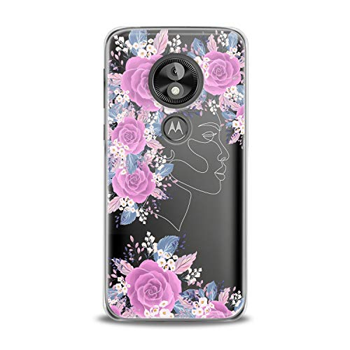 Lex Altern TPU Case for Motorola Moto G7 Power One P30 P40 Note G6 Z4 Floral Feminine Portrait Clear Cover Pink Leaves Print Protective Pretty Design Transparent Girls Women Soft Silicone Present]()