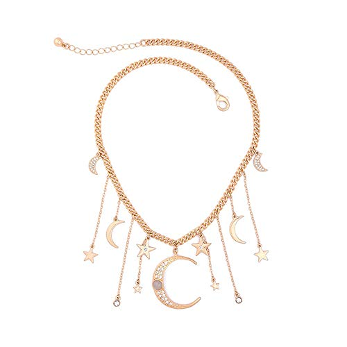 (Fit&Wit Golden Moon&Star Fashion Necklace Chain Jewelry Women Gifts (Necklace Style 1))