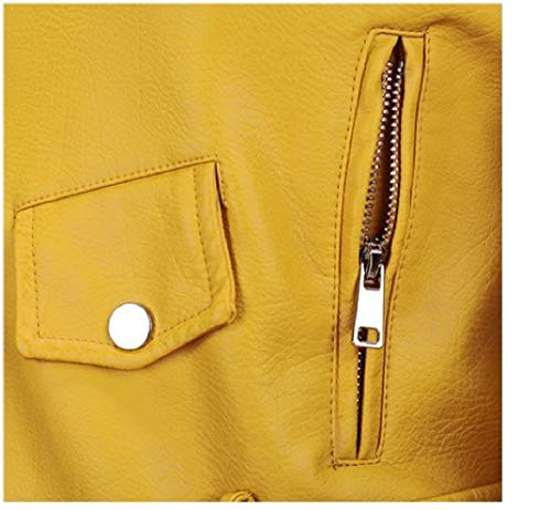 Women Leather Yellow Coat Howme Turn Solid Collar Down Color Fitted Zipper Slim Mini Faux FPdpP7wqn
