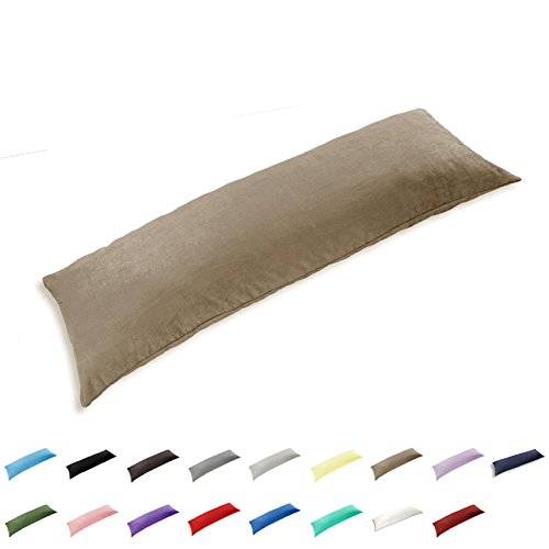 TAOSON 100% Cotton 300 Thread Count Envelope Style Body Pillow Cover Pillowcase Pillow Protector Cushion Cover Non Zippered Only Cover No Insert (Khaki,21