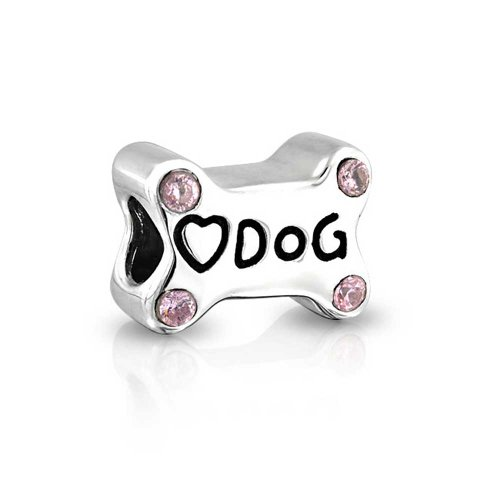 Bling Jewelry 925 Silver Puppy Love Heart Pink CZ Dog Bone Bead Charm