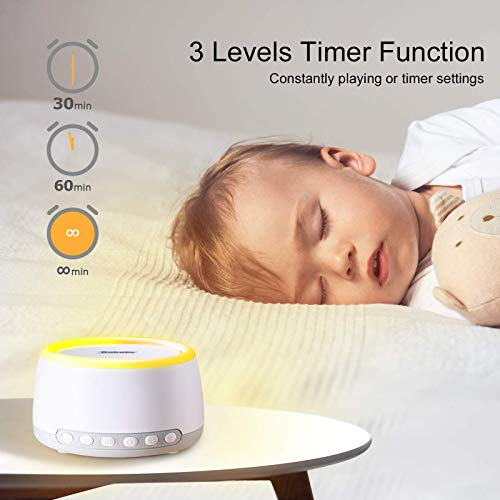 BABELIO Portable White Noise Machine, Rechargeable Sleep Sound Machine for Travel Sleeping Baby Kids Adults, with Night Light, 32 Relaxation Noise, Bluetooth, Timer