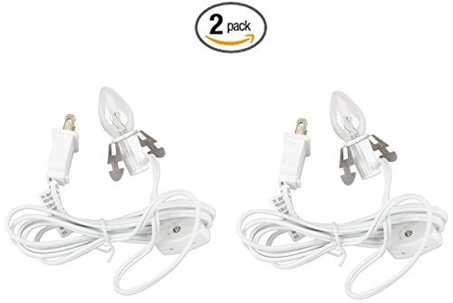 6' Cord Set (Set of 2 Darice 6402 Accessory Cord with 1 Lights, 6-Feet, White)