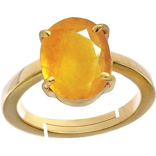 Yellow Sapphire/Pukhraj 3.9cts or 4.25ratti Stone Panchdhatu Adjustable Ring for Women by GEMS HUB
