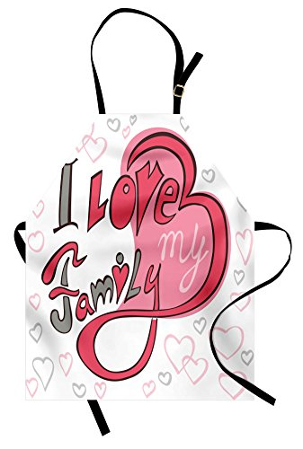 Ambesonne Family Apron, Abstract Design with Pretty Hearts I Love My Family Swirled Shaped Cartoon Like, Unisex Kitchen Bib Apron with Adjustable Neck for Cooking Baking Gardening, Pink Grey White ()