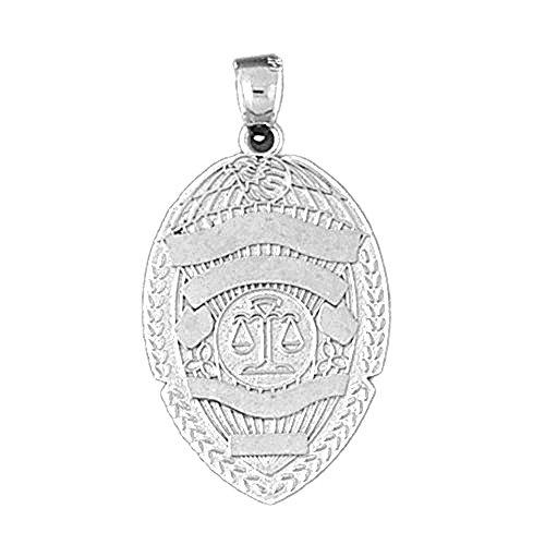 14K White Gold Police Badge Pendant - 34 (Gold Police Badge)