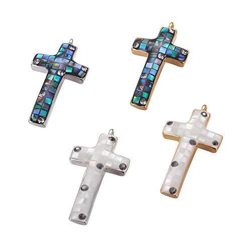 Freshwater Pave Earrings - PH PandaHall 5pcs Cross Enamel Pendants Micro Pave Cubic Zirconia Charms with Freshwater Shell for Earring Necklaces Making 24.5x13x3mm Hole: 3x3.5mm Mixed Color