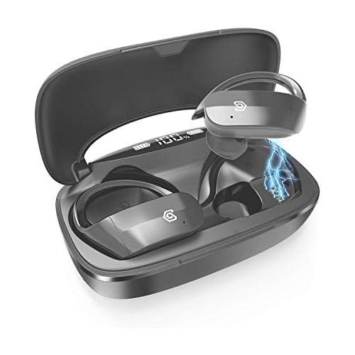 chollos oferta descuentos barato Axuan Auriculares Bluetooth deportivos con funda de carga de 3000 mAh 130 h de reproducción impermeable IPX7 Bluetooth 5 0 semien orreccos auténtico estéreo inalámbrico