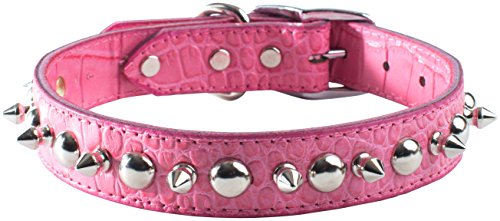 (OmniPet Faux Crocodile Signature Leather Pet Collar with Spike and Stud Ornaments, Pink, 1 by 22