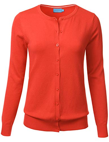 - FLORIA Women's Button Down Crew Neck Long Sleeve Soft Knit Cardigan Sweater HOTCORAL L