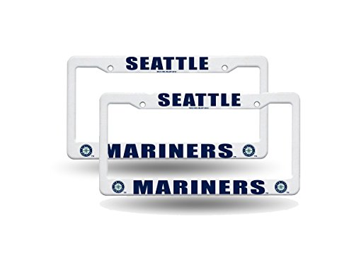 Seattle Mariners MLB Raised Lettering White Plastic (2) License Plate Frame Set (Seattle Mariners Hanging)