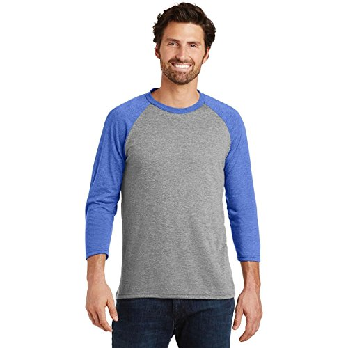 Threaded Sports Men's Baseball Crew Neck Cotton 3/4 Sleeve Essential Raglan T-Shirts Grey/Royal XL