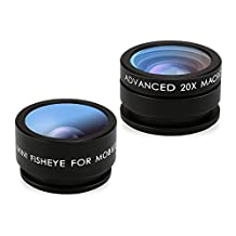 Mozeat Lens 2 in 1 Cellphone Camera Lens Kit, 160 Degree Fisheye, 20 X Macro Lens for iPhone Android