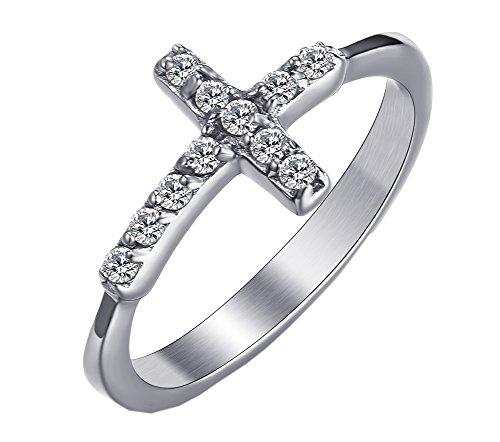 PMTIER Women's Stainless Steel Cubic Zirconia Sideways Cross Ring Wedding Band Silver Tone Size (Cross Stainless Steel Wedding Bands)