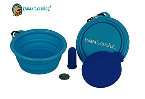 New Emma's Choice® Puppy Starter Pack FDA Collapsible Pet Water Bowl with Multi-size Food Grade Can Cover (Blue/Blue) - New Emma