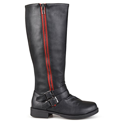Brinley Co Womens Fulton Riding Boot Regular & Wide Calf Black/ Red gbJxNw