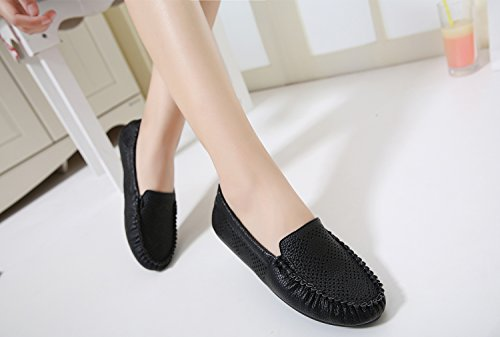 Breathable Top Shoes Slip Feet Comfy Women's Black On Insole Low Soft Driving Moccasin Flat Support Loafers DolphinBanana Horsebit wfgXRzqf