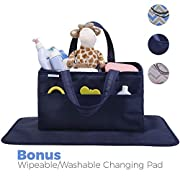 Diaper Caddy, Nursery Organizer: Best Navy Blue Portable Washable Diaper Caddy Organizer with Large Storage Space. Free Changing Pad (Navy, Large)