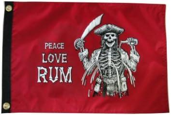 Pirata paz amor Ron. Al Aire Libre Jardín bandera 12 x 18in