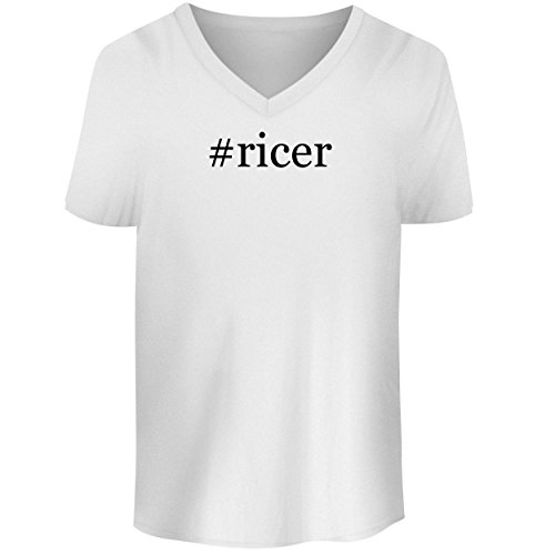 (BH Cool Designs #Ricer - Men's V Neck Graphic Tee, White, Small)