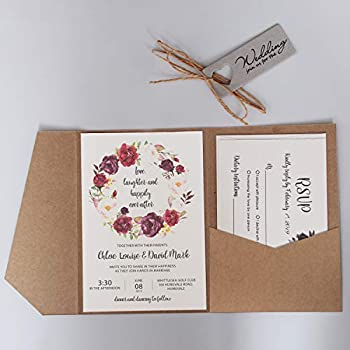 Amazon Com Rustic Wedding Invitation Envelopes Kraft Paper