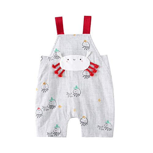 pureborn Baby Girl Cartoon Overalls Summer Cotton Jumpsuits Romper Pants Outfits Gray Crab 6-12 Months