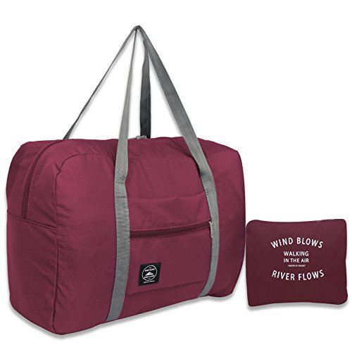 25L Travel Foldable Duffel Bag for Women & Men, Waterproof Lightweight travel Luggage bag for Sports, Gym, Vacation (II-Wine Red)