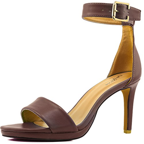 Women's High Heel Open Toe Ankle Buckle Strap Platform Evening Dress Casual Pump Sandal Shoes Brown PU-05