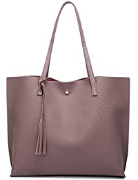 Women s Soft Leather Tote Shoulder Bag from Dreubea, Big Capacity Tassel  Handbag 7d9fea47d5