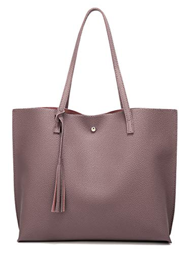 Women's Soft Leather Tote Shoulder Bag from Dreubea, Big Capacity Tassel Handbag Dark Pink
