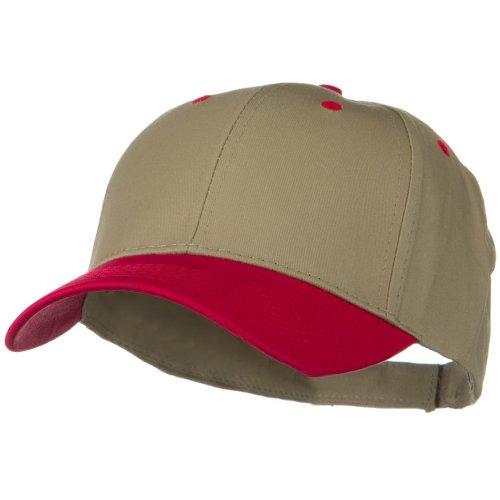 - Otto Caps Two Tone Cotton Twill Low Profile Strap Cap - Red Khaki