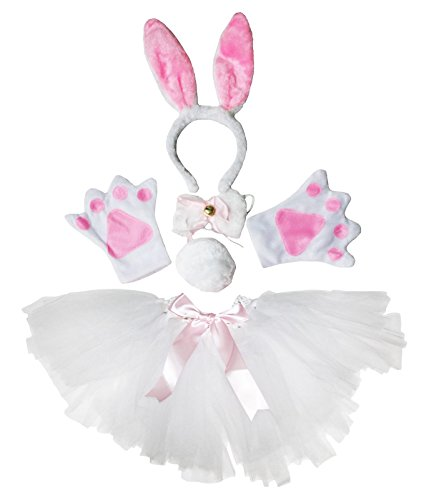 Easter Halloween Costume White Bunny Rabbit Headband Paw Bow Tail Gauze Skirt Set (One Size)