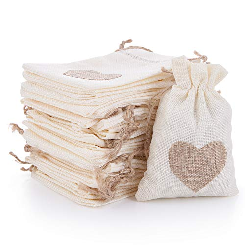 30 Pack Burlap Bags with Drawstring Gift Pouches Candy Jewelry Storage Package Sack for Wedding Bridal Shower Birthday Party,Thanksgiving Day,advents Calendar,Christmas Valentine's Day ()