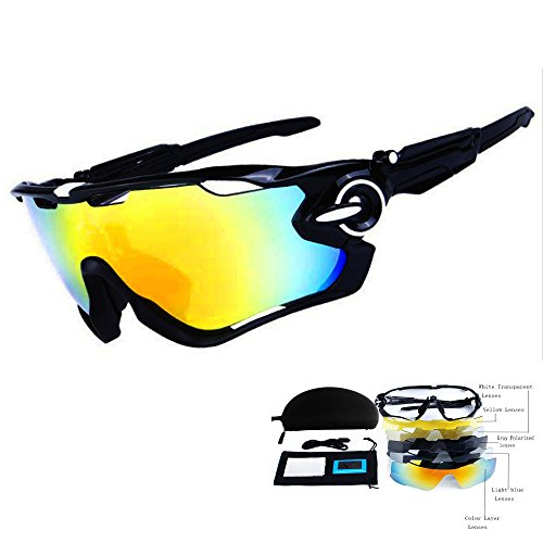 Best Deals! TOPTOJOKLJGDGHJH Men's Sports Cycling Sunglasses Women's UV Protection Polarized Glasses Fishing Golf Baseball Men's Sports Goggles, 5 Exchangeable Lenses