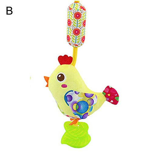 Baby Cartoon Animal Crib Plush Rattle Toys Hanging Wind Chimes Hand Grip Bells Chick
