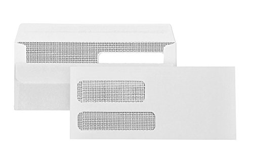 500#9 Flip and Seal Double Window Security Envelopes-Designed for Quickbooks Invoices and Business Statements with SELF Seal Flip Press and Seal Flap -3 7/8'' X 8 7/8''