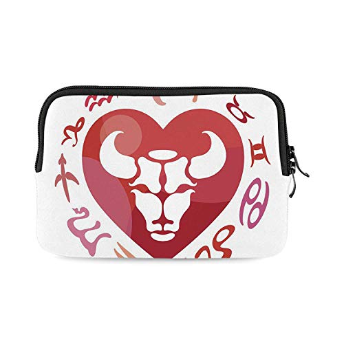 Taurus Mini Compatible with Ipad Bag,Zodiac Sign Bull Personality Western Astrology Human Character Mystic Print Decorative for Work,One Size ()
