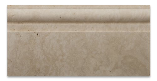 Ivory / Light Travertine Honed 6 X 12 Baseboard Trim Molding - 4