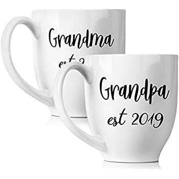 New Grandparents Pregnancy 2019 Announcement Coffee Mug Set 15oz - Unique Expecting Gift Idea For Grandma and Grandpa To Be - Perfect Reveal Present Baby ...