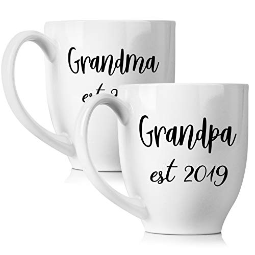 (New Grandparents Pregnancy Announcement Coffee Mug Set 15oz - Unique Expecting Gift Idea For Grandma and Grandpa To Be - Perfect Reveal Present Baby Showers - Grandmother and Grandfather Gifts)