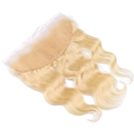 FDshine Blonde Frontal Lace Closure with Baby Hair Ear to Ear Frontals Human Hair 13×4 Free Part Body Wave (16″, 613 color)