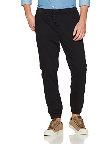 Wood Paper Company Men's Regular Fit Drawcord Waist Chino Jogger Pant 36W x 32L Black