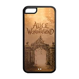 Cutomize Alice in Wonderland Scratch-Resistant Case Soft TPU Skin for iphone 5c Cover - Black/White