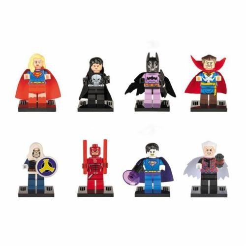 Lot de 8 mini figurines Avengers super-héros Batman Thor Hulk Block Jouets Coupe Lego LG Unknown
