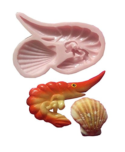 (Shrimp with Shell, Sea seascape Silicone Mold By Oh! Sweet Art FDA Approved for Food)