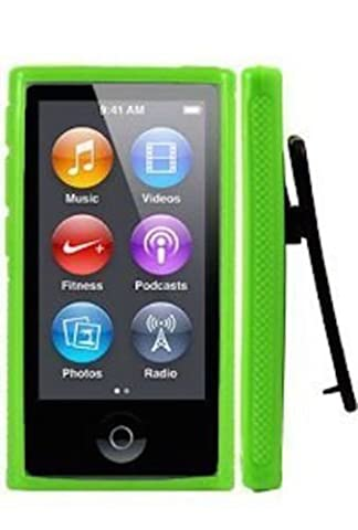 ANiceSeller(TM) Color TPU Rubber Skin Case Cover with Belt Clip for iPod Nano 7th Gen 7 7G (Green) (Ipod Nano Cases With Clip)