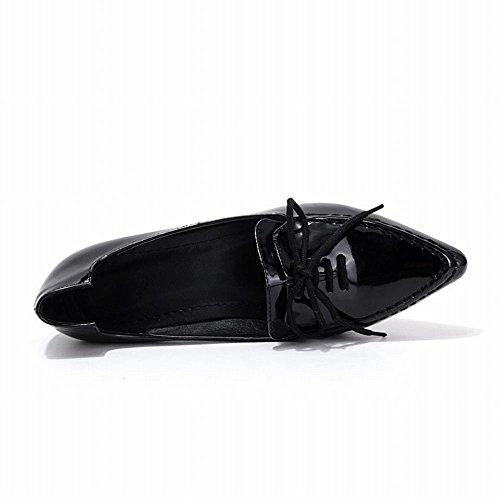 Latasa Kvinna Mode Chunky Låg Klack Pekade Tå Loafers Med Skosnöre Dekorerade Svart